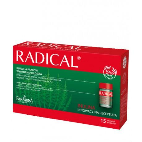RADICAL Kuracja przeciw wypadaniu włosów 15x5ml/ Kompleks odżywczy do skóry głowy stymulujący wzrost włosów 15amp. po 5ml